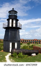 Lighthouse sits atop the upper level of the wall of Fort Jefferson National Park in the Dry Tortugas, part of the Florida Keys.