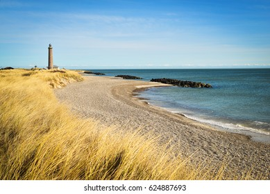 Lighthouse in Skagen, Denmark, on a sunny day
