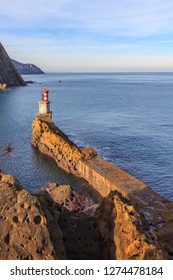 The lighthouse of the small fishing village of Pasai Donibane in Guipuzcoa