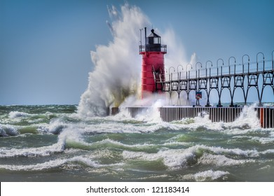 Lighthouse in South Haven Michigan during wind storm