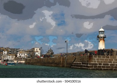 Lighthouse at St Ives  illustration , cornwall , England , with houses in distant view , digital effect added to outlines.