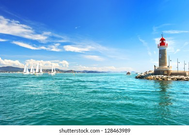 Lighthouse of St. Tropez. beautiful mediterranean landscape. french riviera, Cote d' Azur, France