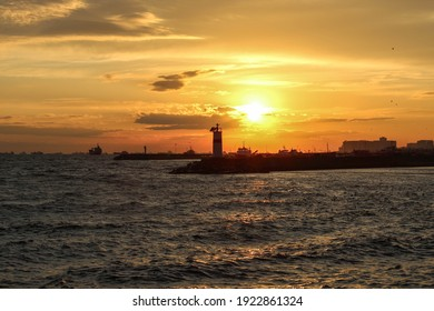 lighthouse in Stabul at sunset