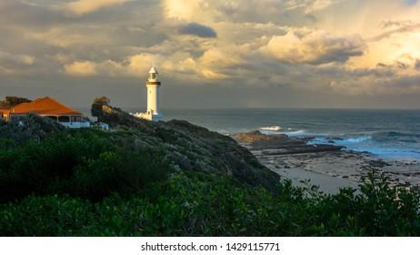 Lighthouse Storm Gloomy Sky Shot