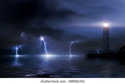 lighthouse in a storm. Thunderstorm over the sea, lightning beats the water