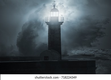 Lighthouse in a stormy, dark and scary night