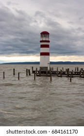 Lighthouse at stormy day in Podersdorf am See, lake Neusiedler See, Burgenland, Austria