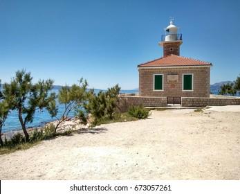 Lighthouse St.Petar in Makarska. Photo taken in July 05, 2017 in city Makarska (Croatia). Lighthouse built in year 1884.