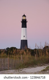 Lighthouse at sunrise, Tybee island, USA