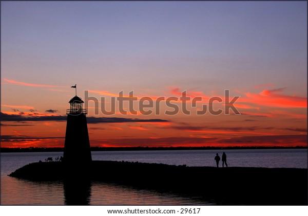 Lighthouse at sunset on Lake Hefner, Oklahoma City, Oklahoma