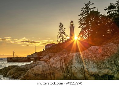 Lighthouse at sunset, Lighthouse Park, West Vancouver, BC