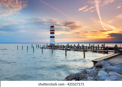 Lighthouse at sunset in Podersdorf am See, lake Neusiedler See, Burgenland, Austria