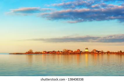 Lighthouse in sunset, Svartklubben in Grisslehamn, Sweden