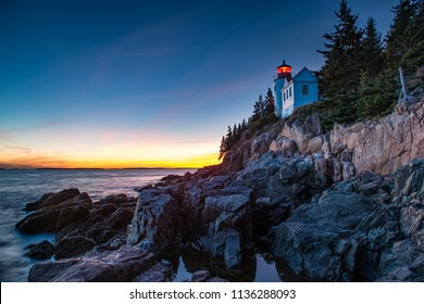 Lighthouse at sunset time