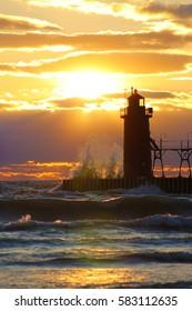 Lighthouse Sunset Waves