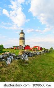 The lighthouse and surrounding landscape at Morups Tange outside Falkenberg in Sweden.