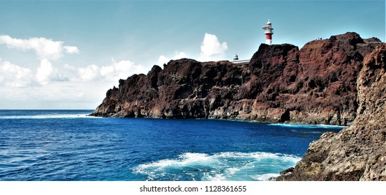 Lighthouse of Teno Point, landscape of the coast of Tenerife in the Atlantic ocean