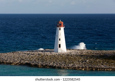 The lighthouse at the tip of Paradise Island, popular vacation destination in The Bahamas.