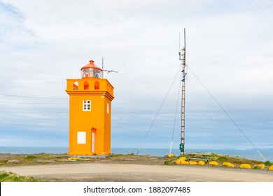 The lighthouse of town of Raufarhofn in North Iceland
