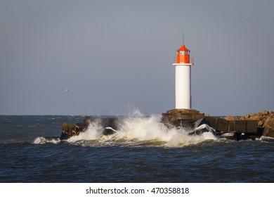 lighthouse in Ventspils at vinter