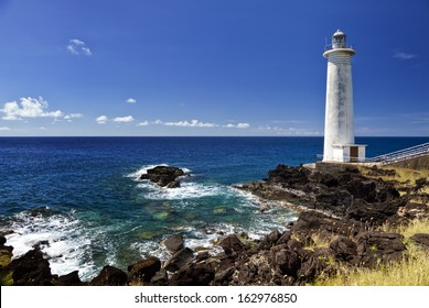 Lighthouse at Vieux-Fort, the southernmost point of Guadeloupe, Caribbean Sea