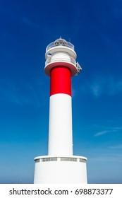 """Lighthouse view of """"Far del Fangar"""" on Delta de l'Ebre natural Park, Tarragona, Catalunya, Spain."""