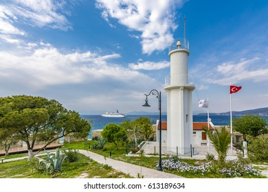 Lighthouse view in Pigeon Island Castle in Kusadasi