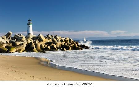 Lighthouse Walton on Santa Cruz Shore, California, USA