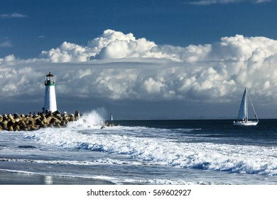 Lighthouse Walton on Santa Cruz Shore, California, USA