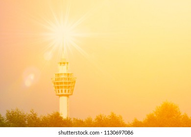 Lighthouse with warm light.