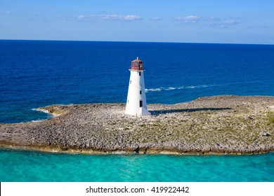 Lighthouse with water trail