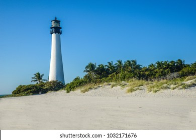 lighthouse in white beach blue sky in Key West USA Florida Key