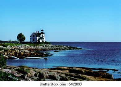Lighthouse in Winter Harbor Maine.