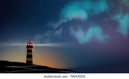a Lighthouse working in milky way and star field, digital art style, illustration painting.