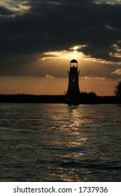 The lighthouse is working once again due to the sunset