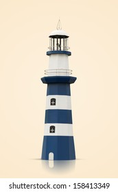 Lighthouses blue with white strips isolated on a cream background with the Paths.