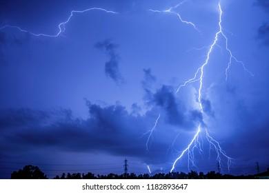 lighting bolt in night