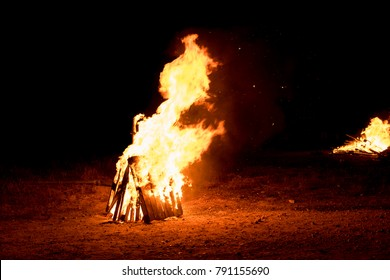 Lighting of bonfires at Jewish holiday of Lag Baomer, , the day of commemorate the death of Rabbi Shimon Bar Yochai