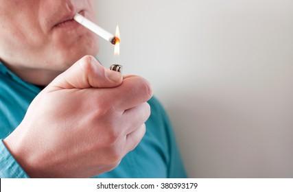 Lighting the cigarette