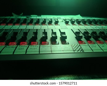 A lighting console in a theater
