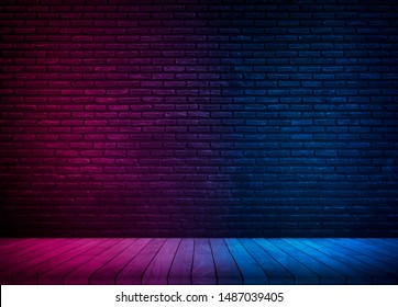 Lighting Effect red and blue on brick wall for background party happiness concept , For showing products or placing products