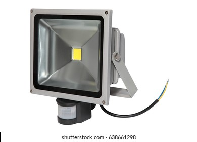 Lighting equipment. Gray halogen lantern with motion detector isolated on white background