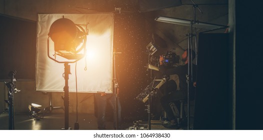 lighting equipment on the set close up