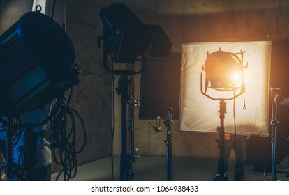 lighting equipment on the set close up