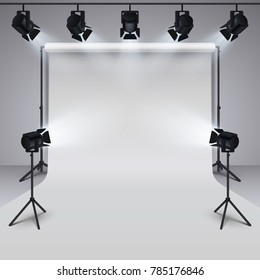 Lighting equipment and professional photography studio white blank background. 3d illustration. Studio for photography with light equipment