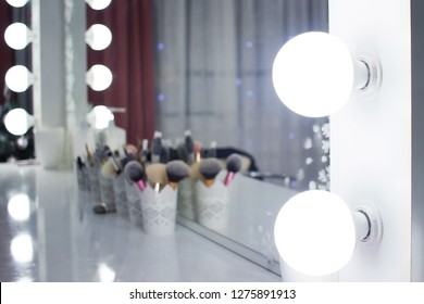 lighting the mirror in the beauty salon, make-up artist place.