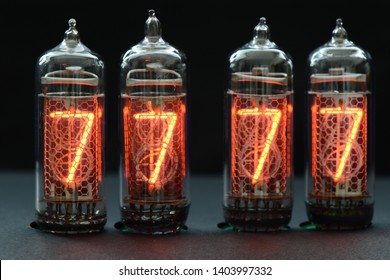 A lighting number 7 in nixie tubes in the dark