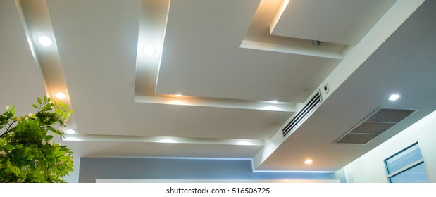 Lighting on the modern office ceiling