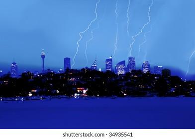lighting over city skyline