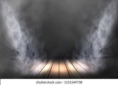 lighting and smoke on stage with wooden floor